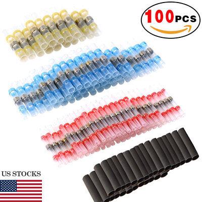 100 Pcs Solder Seal Heat Shrink Butt Wire Connector Copper Waterproof Terminal