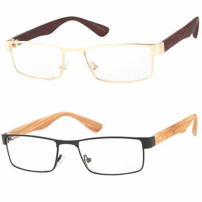 New Nerdy Squared Clear Lens Non Prescription Faux Wood Side Unisex Glasses (Fake Non Prescription Glasses)