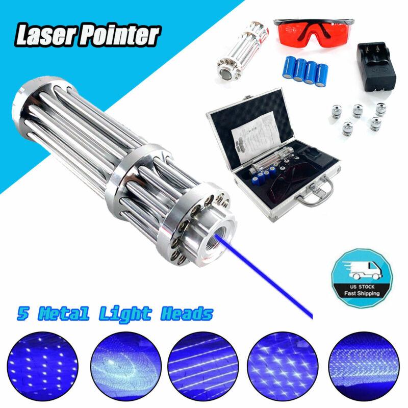 High Power Laser Pointer Blue 450nm Visible Beam Light W/ 4pcs Batteries+Box