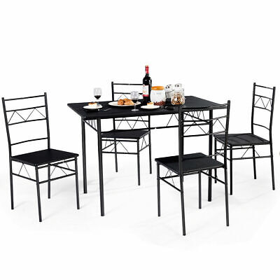 5 Piece Dining Table Set 4 Chairs Wood Metal Kitchen Breakfast Furniture Black