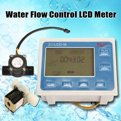 Oil Flow Meter - 1/2'' Water Diesel Fuel Oil Flow Meter LCD Display &Flow Sensor + Solenoid Valve
