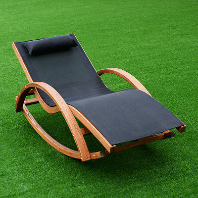 Rocking Lounge Chair Larch Wood Beach Yard Patio Lounger W/ Headrest New