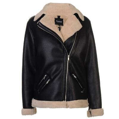 Firetrap Winterjacke Damen Jacke Winter Mantel Jacket Blackseal Aviator 8455 Black Aviator Jacket