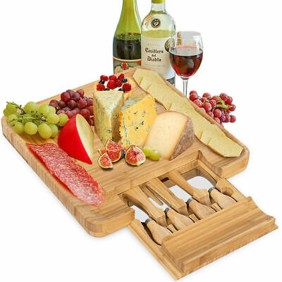 Bamboo Cheese Board & Cutlery Set w/ 4 Stainless Steel Knives Slide-out Drawer