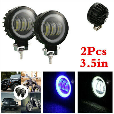 1 Pair 3.5in Angel Eye Car Driving Headlamp 60W 6000LM LED Fog DRL Spot Lights