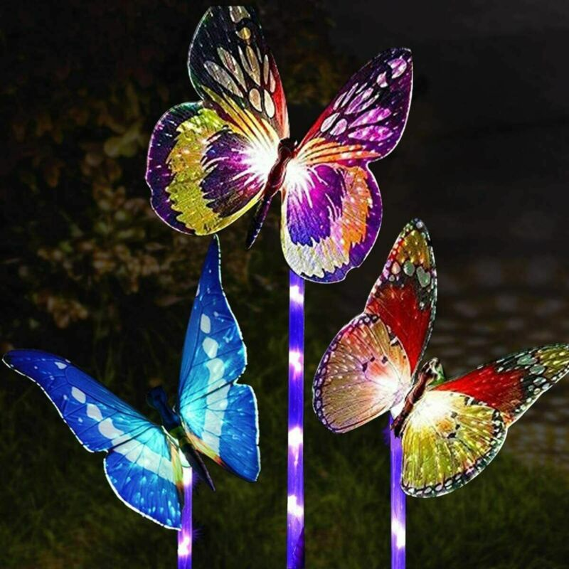 3 Pack Solar Butterfly Lights Outdoor Garden Landscape Waterproof Yard Decor