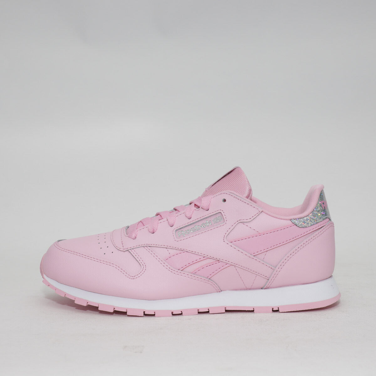 £34.99 Junior Reebok Classic Leather Pastel Pink//Silver Trainers TGF26 RRP