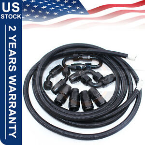 AN8 -8AN AN-8 Fitting Stainless Steel Nylon Braided Oil Fuel Hose Line 16FT Kit