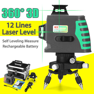 360 12 Lines Level Self-leveling Measure 3d Laser Rotary Cross Greenred