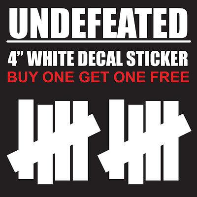 "Home Decoration - Undefeated Logo 4"" White Vinyl Decal Sticker - BOGO"