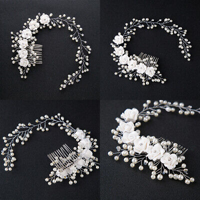 Flower Garland Pearl Headband Wedding Bride Hair Accessories HeadPiece Party US](Flower Headpiece)