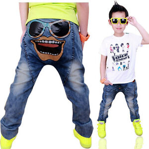 Kids Boys Girl Trousers Baby Jeans Skinny Blue Denim Pocket Jeans Age 3-8
