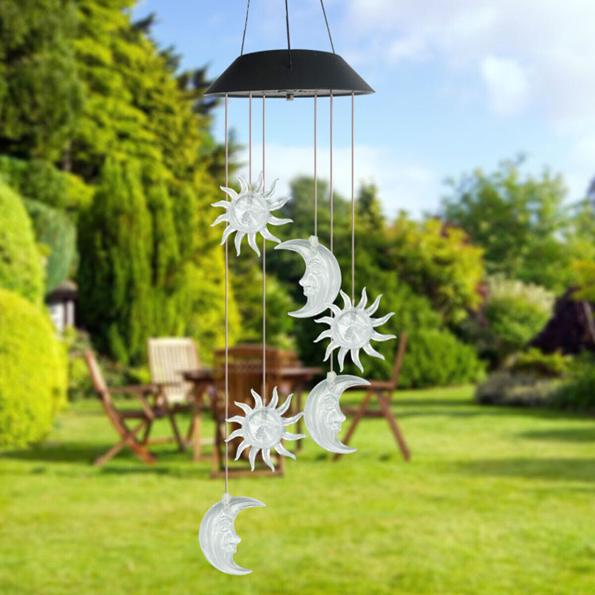 Color-Changing Outdoor LED Solar Sun and Moon Wind Chime Light Yard Garden Decor 2