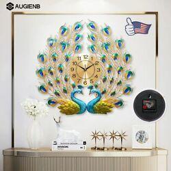 AUGIENB 3D Peacock Wall Clock Large Accurate Metal Art Creative Decor