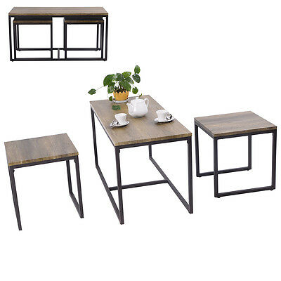 3 Lead-pipe cinch Nesting Coffee & End Table Set Wood Modern Living Room Furniture Decor