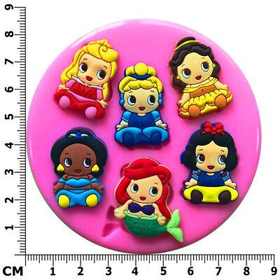 Disney Princess Babies Jasmine Ariel Aurora Silicone Mould by Fairie Blessings