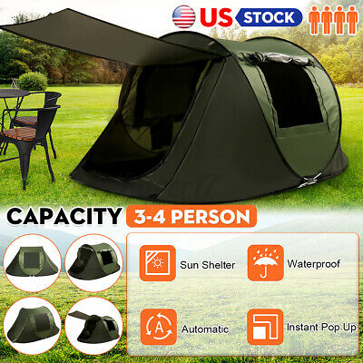 3-4 Person Instant Up Camping Tent UV Protection Waterproof Family Hiking Canopy