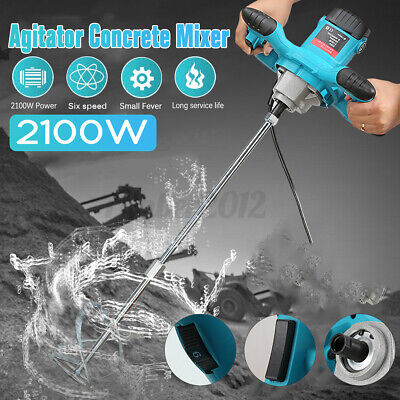 Industrial 2100w Electric Concrete Cement Mixer 6 Speed Grout Mud Mixing Mortar