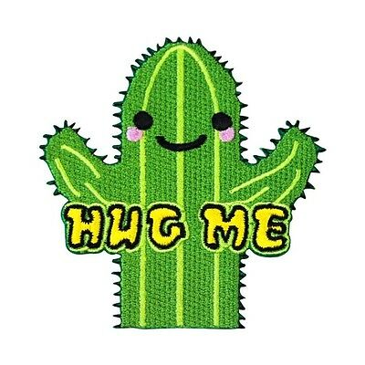 "Friendly Cactus ""HUG ME"" Patch Cute & Funny DIY Craft Apparel Iron-On Applique"