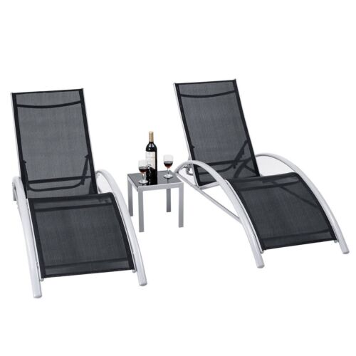 Garden Furniture - 3PCS Adjustable Chaise Lounge Chairs Set Outdoor Patio Pool Garden Furniture US
