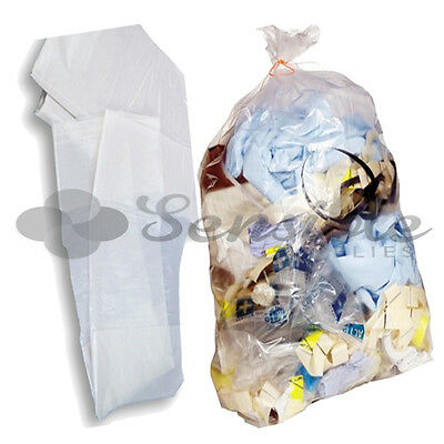 100 Heavy Duty Refuse Sacks CLEAR Bags Bin Liner Rubbish 18