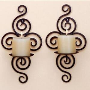 New Romantic Home Decorative Swirling Iron Hanging Wall Candle Holder Sconce