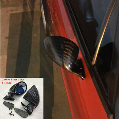 F1 Style Carbon Fiber Look Rearview Mirror Car Door Side Wing Mirror Replacement