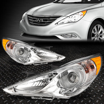 FOR 2011 2014 SONATA PAIR CHROME HOUSING AMBER CORNER PROJECTOR HEADLIGHTLAMP