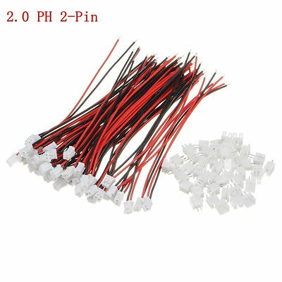 120 Mini Plugs - 50 Sets Mini Micro JST 2.0mm PH 2-Pin Connector Plug With Wires Cables 120mm New