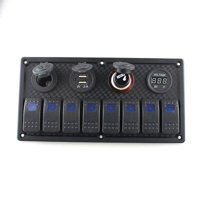 8p Composite Switch Panel Usb Cigarette Lighter Voltmeter Rocke 1224v Car