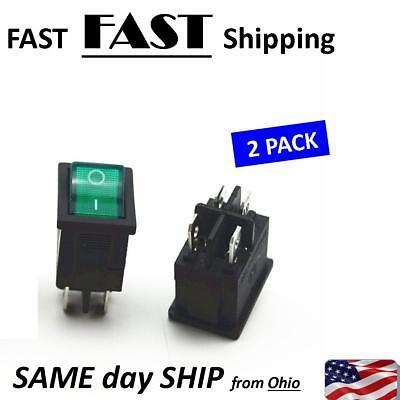 2 Pack - - 4 Pin Dpst On-off Green Rocker Switch 6a 250vac - - 10a 125vac