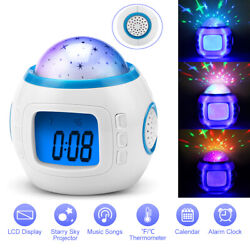 LED Star Sky Projection Lamp Kids Music Digital Alarm Clock Calendar Thermometer