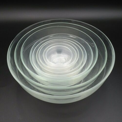 VINTAGE DURALEX FRANCE 9-PIECE GLASS NESTING BOWL SET