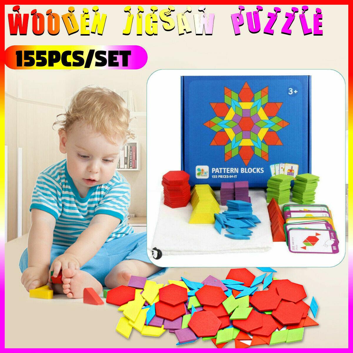 155pcs Wooden Pattern Blocks Puzzle Box Montessori Kids Toys Shapes Dissection