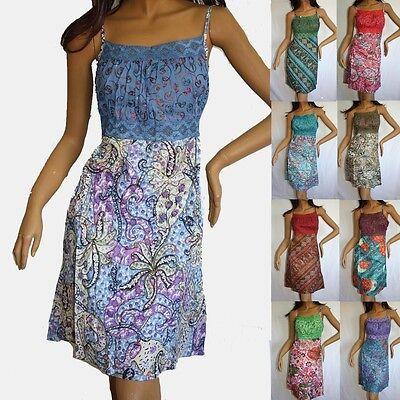 Baumwolle Mini-kleid (Kleid Minikleid Bunt bestickt Baumwolle  Mini 38 40 Indien Hippie Goa emb)