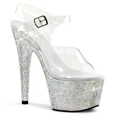 Pleaser BEJEWELED-708DM Platforms Exotic Dancing Silver Multi Rhinestones Sandal