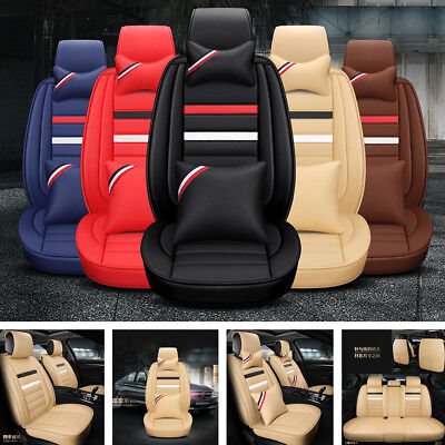 Deluxe PU Leather Seat Cover Full Set Cushion 5-Sit For Car Interior Accessories for sale  Shipping to Canada