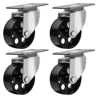 4 Lot All Steel Metal Swivel Plate Caster Heavy Duty 3 Inch Wheel