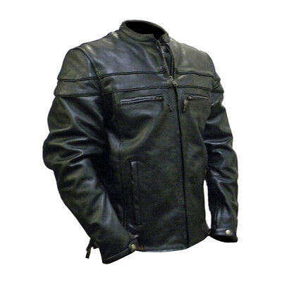 MEN'S MOTORCYCLE RACER LEATHER JACKET WITH VENTS