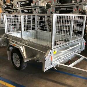 SALE - ONLY 3 LEFT - Galvanised 6x4 Caged Box Trailer For Sale Coopers Plains Brisbane South West Preview