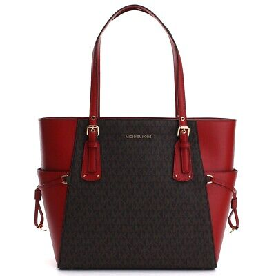 Michael Kors Voyager Ladies Large Two Tone Leather Tote Bag 30F8GV6T4B268