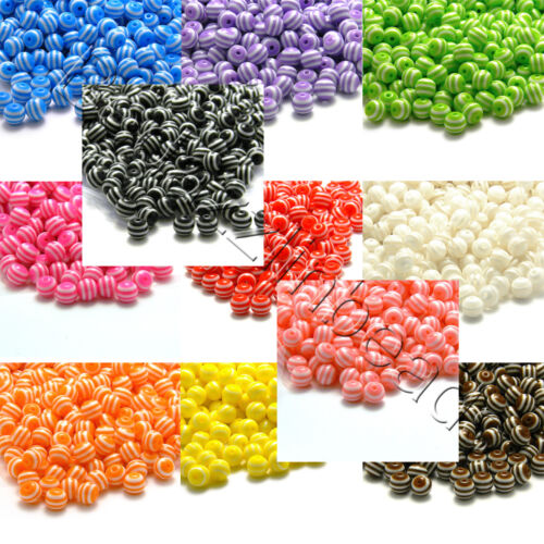 20 Striped Plastic Acrylic Resin 8mm Round Beads with Defined White Stripes