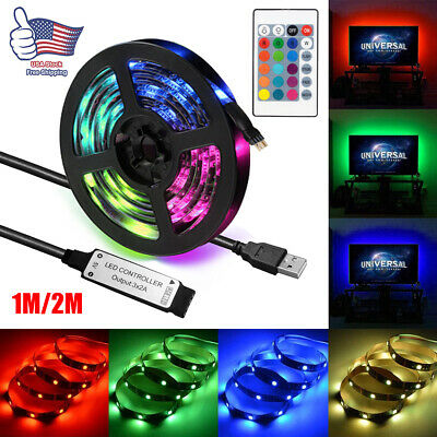 5V USB LED Strip Lights TV Back Light 5050 RGB Color Changing w/ 24Keys Remote