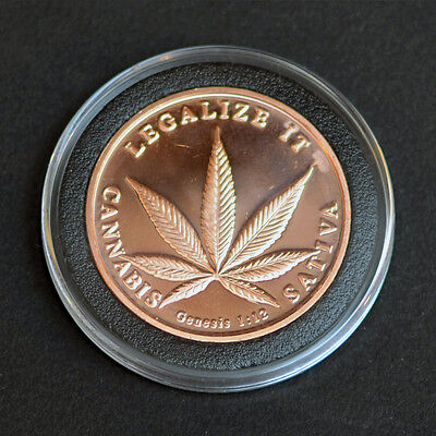 Legalize It   Cannabis Sativa   1Oz 0 999 Fine Copper  Cu  Coin Bu Round