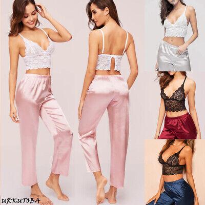 Sexy Women Satin Silk Sleepwear Lace V Neck Bra + Long Pants Pyjamas Nightgown ()