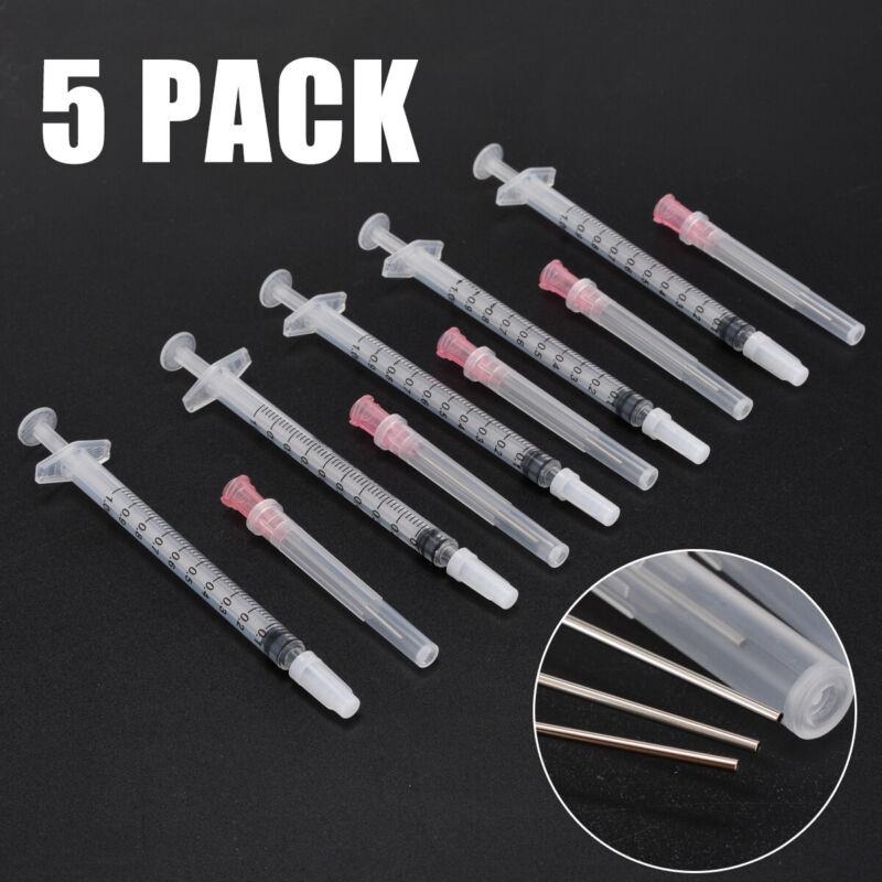 """5 set 1ml Syringe + Tip 18 Gauge 1.5"""" w/Caps Set For DIY Liq"""