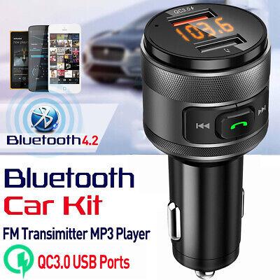 Bluetooth 4.2 FM Transmitter Adapter Car Radio MP3 Player W/QC3.0 USB Charger US