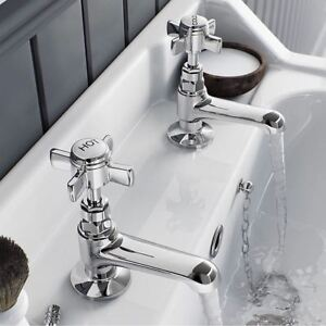 GRAND TRADITIONAL VICTORIAN CROSS HEAD TWIN PAIR BASIN HOT & COLD CHROME TAPS