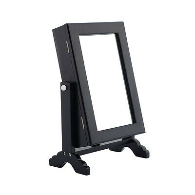 Small Mirrored Jewelry Cabinet Organizer Armoire Storage Box Countertop w/ Stand