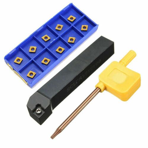 SCLCR1212H06 Lathe Turning Tool Holder + 10pcs CCMT060204-HM YBC251 Blade Insert